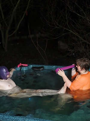 Hard core bondage in the hot tub as well, where else would you expect to find a sub