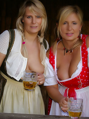 My girl-friend Susi and I worked in the stable. We were wearing our dirndl and no panties. We had much fun with each oth