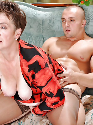 Cock-hungry mom in nylons
