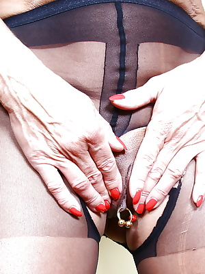 Older European broad Lady Sarah posing in crotchless pantyhose