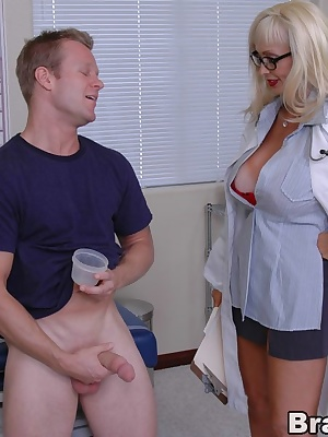 Mature doctor with huge boobs Britney O'Neil strips for wild fucking