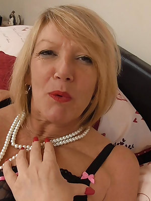 Old mature granny horny blonde solo stockings masturbation with sex toys