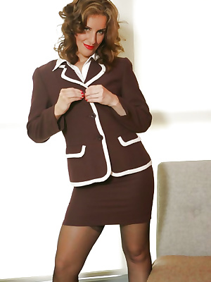 Secretary nylon striptease