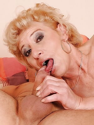 Mature blonde in stockings gets her hairy twat slammed and creampied