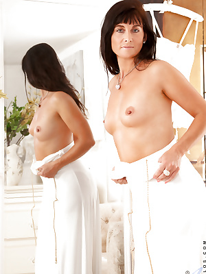 Delicate housewife in white stockings