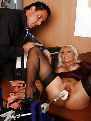 Horny secretary gets caught masturbating