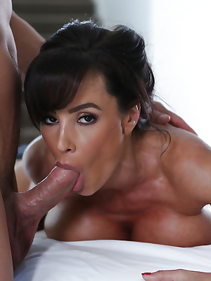 Latina Lisa Ann is sucking a horny hard prick and swallowing sperm