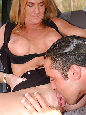 Liberated MILF gets tricked into pussy licking and cock sucking in the car