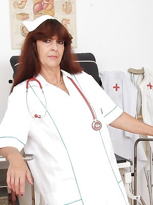 Mature european Lada masturbating her old pussy in nurse uniform
