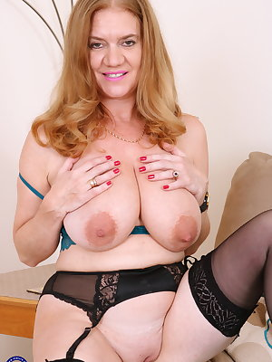 Naughty British housewife showing off her dirty mind