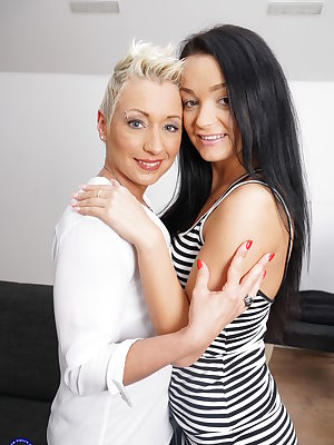 Kinky mom playing with a hot lesbian teeny babe