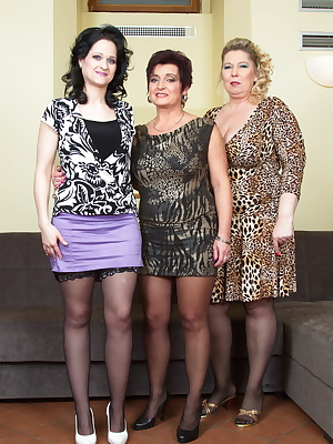 Three mature ladies getting ready for one cock