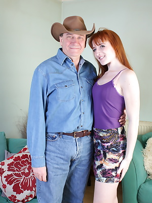 Naughty redhead babe doing a dirty older man