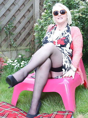 Naughty British housewife getting dirty in the garden