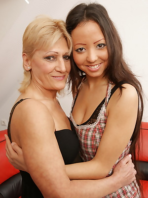 These old and young lesbians make out hard and long