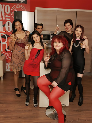 Six old and young lesbians having a very special party