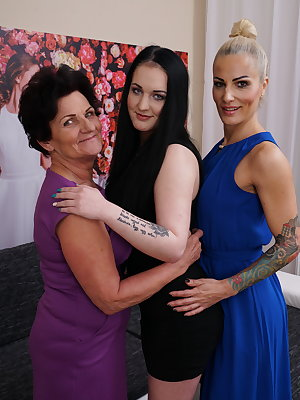 Three old and young lesbians fooling around with eachother