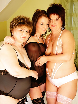 Two older lesbians get down on a hot young babe